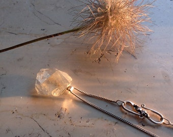 Silver Necklace with Raw Fluorite Crystal