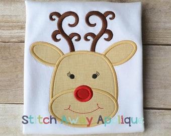 Christmas Girl Reindeer Machine Applique Design