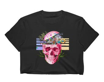 Vaporwave AESTHETIC བརད་ Vaporwave Skull with a Head Full of   Glitch Psychedelic Tropical Plants Internet Art Women's Crop Top