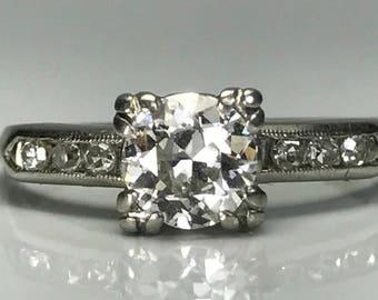 Vintage Diamond Engagement Ring. Half Carat Center Stone. F color. Platinum Setting . April Birthstone. 10 Year Anniversary. Estate Jewelry.