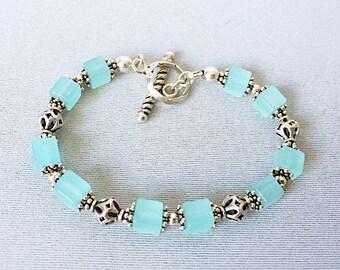 Sky Blue Quartz and Sterling Silver Bracelet