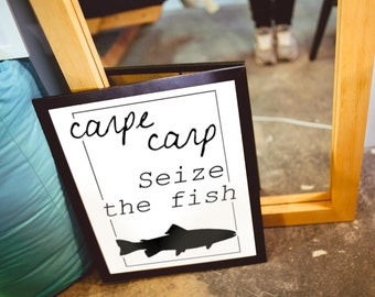 Carpe Carp: Seize the Fish Word Art Poster | Printable Art | Minimalist Poster | Carpe Diem