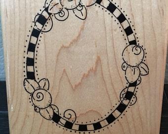 Rosebud frame wood stamp by DOTS   JRL design Whimsy flowers