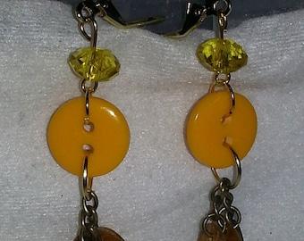 Yellow button dangle earrings