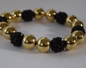 Gold and Black Bead Bracelet