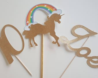 Cake decoration - gold glitter name + age + Rainbow Unicorn