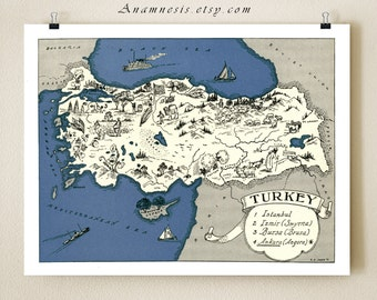 TURKEY MAP PRINT - charming vintage picture map of Turkey - lovely map print to frame - size and color choices - personalize it