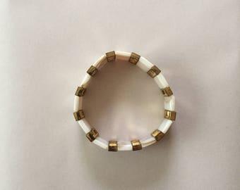 seashell bars bracelet || shell and golden bar statement bracelet
