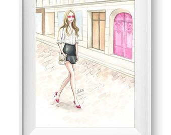 Fashion illustration print, Fashion art, watercolor, girl art, vanity art - Pop of Pink