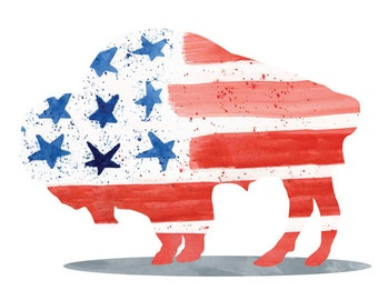 American Flag Art Print  - Buffalo