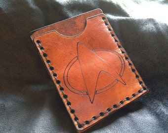 Leather Star trek communicator badge card case
