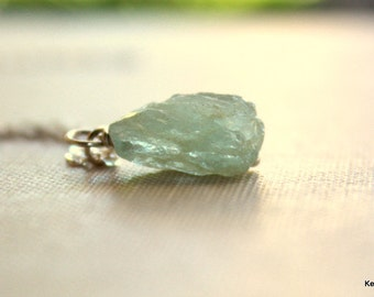 Aquamarine Gemstone Nugget Necklace Raw Blue Green Stone Handmade Jewelry Gift for Women