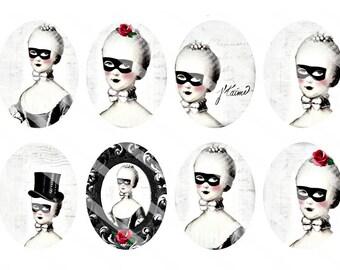 Marie Antoinette Dark MASQUERADE 30x40mm Ovals/Tags/Labels/Pendants-Digital Collage Sheet-Instant Digital Download