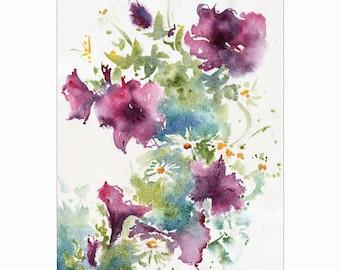Soft Summer Bouquet Original Watercolor Painting