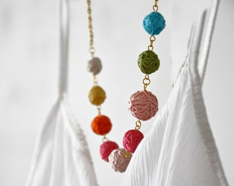 Bib Necklace Fabric Bubble Beads Hand Sewn Statement Necklace Colorful Autumn Accessories Bridesmaids Eco Friendly Jewelry Fall Fashion