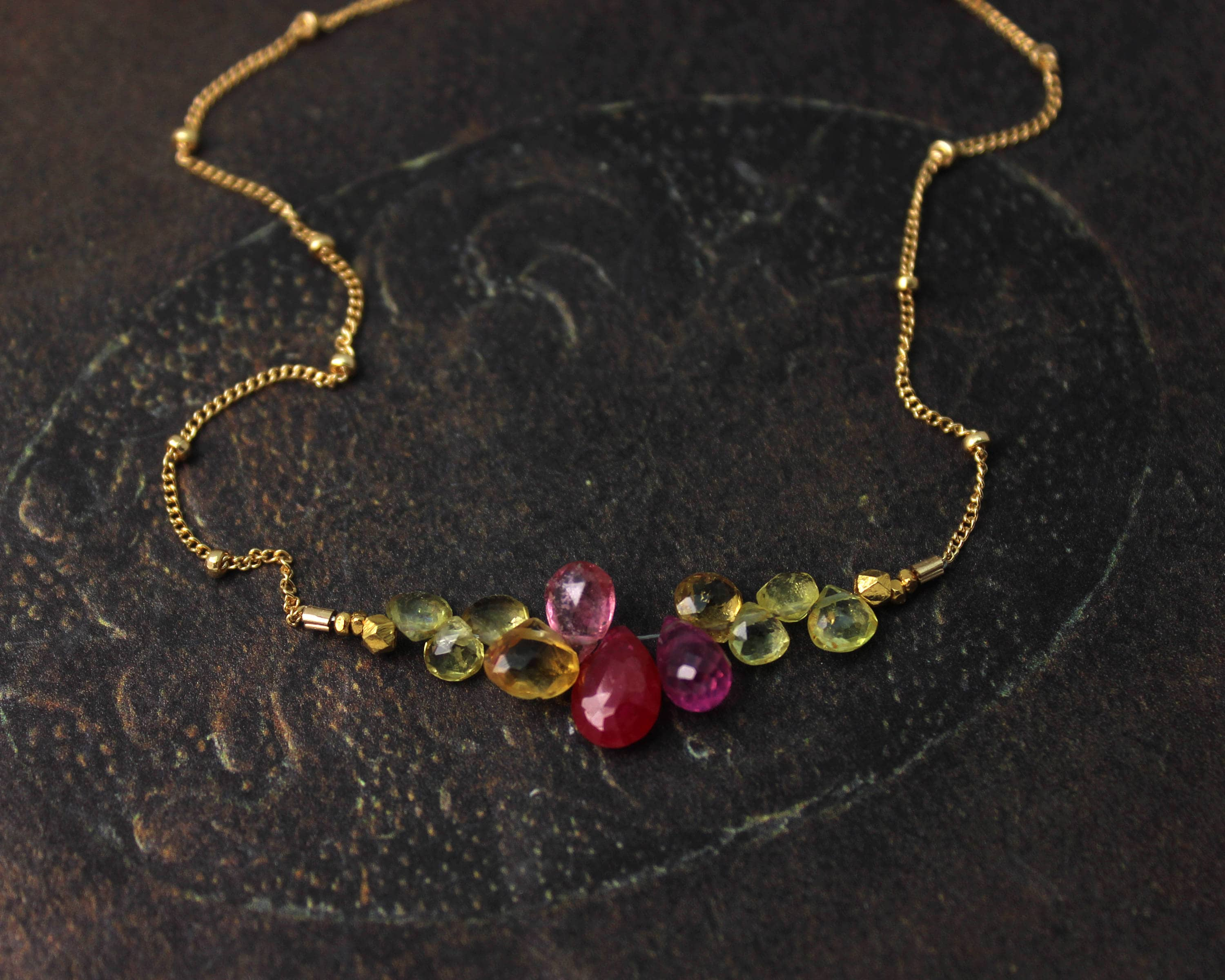 img briolettes vermeil sapphire hematite products briolette gold bracelet yellow with necklace