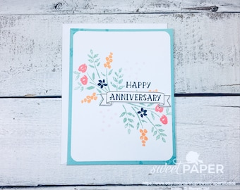 Anniversary Card, Floral Anniversary Card, Pretty Floral Anniversary Card