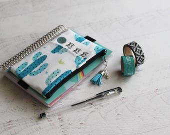 Cactus planner cover - mini planner inserts - pencil pouch - planner band - frankenplanner accessories - tassel charm - planner bag