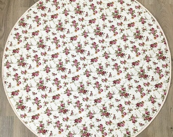 Round Quilted Baby Play Mat - Vintage Floral