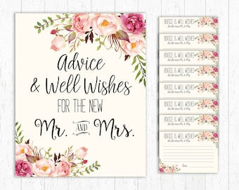 Advice and Well Wishes, For the New Mr and Mrs, Advice Cards Wedding Sign Wedding Advice Cards Printable Wedding Shower Game Advice bride