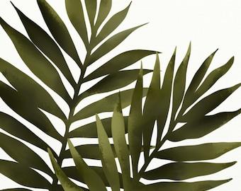 Palm Leaf 8 x 10 Print, Tropical Decor, Green Wall Art,  Botanical Print, Natural Leaves