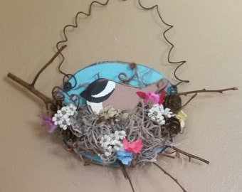 Spring Time Chickadee In A Nest In A Branch