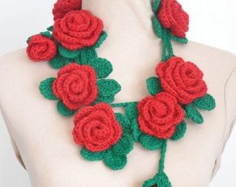 Damask - Red- Crochet Rose and Leaf Lariat