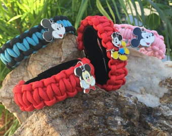 Mickey Mouse Paracord Bracelet, many charm choices