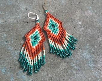 DESERT SUNRISE<< Seed Bead Tassle Earrings >>