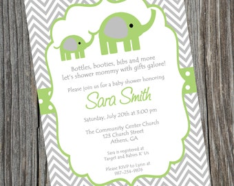 Elephant Invitation, Green Elephant Invite, Elephant Baby Shower, Baby Shower Invitation, Elephant Baby Shower, Birthday, Digital Invite