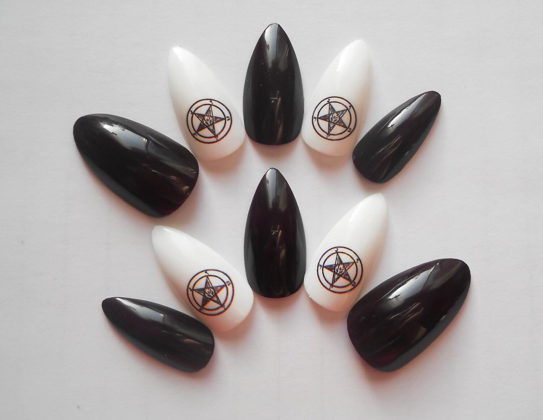 Sigil of Baphomet Stiletto Nails, Fake Nails, False Nails, Acrylic ...