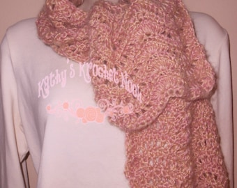 Women's Crochet Scarf Neck Warmer Scarflette Cowl Winter Winter Wear Fall Accessory Rose Chevron