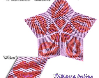 Beading Pattern/Tutorial Valentine KISSES 3D PEYOTE STAR + Basic Instructions