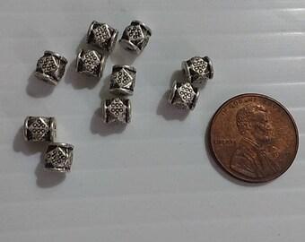 Silvertone Barrel Beads