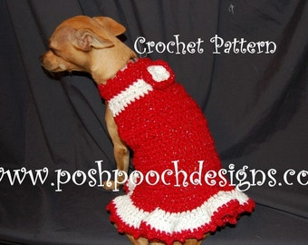 Instant Download  Crochet Pattern - Christmas Sparkle Dog Dress - Small Dog Sweater 2-20 lbs