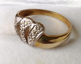 9ct Diamond Ring - White and Yellow Gold 2g Size 6, M