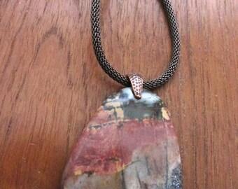 Red Creek Jasper Mesh Chain Necklace
