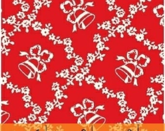 Clearance FABRIC STORYBOOK CHRISTMAS Bells on Red