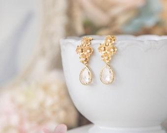 Bridal Earrings, Gold Wedding Earrings, Flower Blossoms Cubic Zirconia Clear Crystal 925 Sterling Silver Post Earrings, Bridesmaid Gift