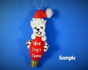 White Schnauzer Santa Dog Cropped Ears Christmas Holidays Light Bulb Ornament Sallys Bits of Clay PERSONALIZED FREE with your dog's name