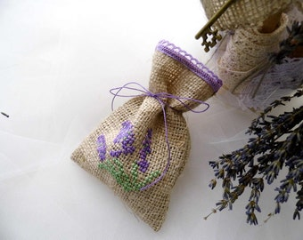 Lavender Wedding, Lavender Favors, Gift Sachets, Gift For Guests, Rustic Wedding, Wedding Embroidery, Lavender Sachets, Handmade, Set Of 10