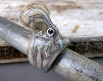 Octopus ring-Anello polipo-glass octopus-Glass ring-Anello in vetro