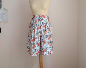 70s White Orange Floral Split Culottes Skort Wide Leg Shorts Small Medium