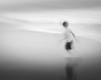 """childhood, boy on the beach, photo of child running, neutral wall art, fine art- 16x20, 11x14 or 8x10 photograph, """"Waves of Energy"""""""