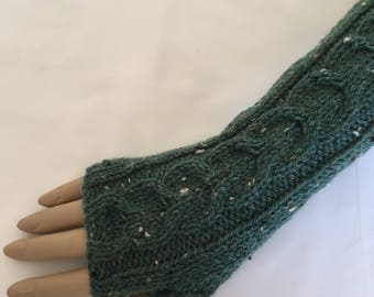 Luxury Hand Knitted Extra Long Soft Merino Wool Fingerless Gloves/Mittens Arm Wrist Warmers, Colour Gorse Green