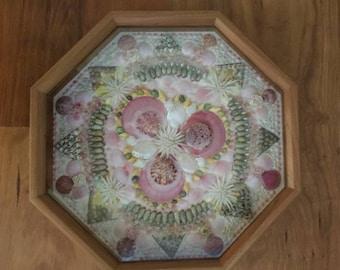 "Sailor's Valentine in high quality 10"" cherry frame, handmade seashell mosaic, Nautical Beach Dec"