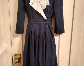 80's Dark Denim Wrap Front Dress w/ White Eyelette Accents | Vintage Eighties Jean Dress | 80's Cowgirl | Retro Country Western  Style