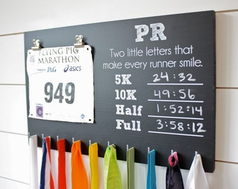 PR Race Bib and Medal Holder On Chalkboard- 5K, 10K, Half, & Full