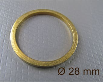 10 x Golden Circle Pendants, Brass, 28 mm A26