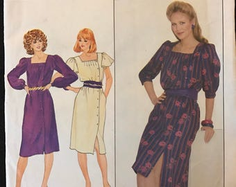 Butterick 4436 - 1980s Asymmetrical Button Front Dress with Square Neck and Gathered or Flutter Sleeves - Size 12 Bust 34